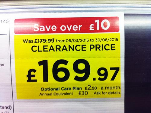 Цените завършващи на 7,8 или 1 показват, че стоката е на разпродажба